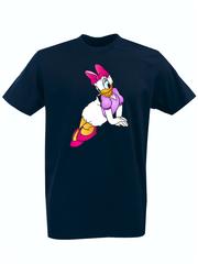 Футболка с принтом мультфильма Дональд Дак и Дейзи Дак (Donald  Duck/ Daisy Duck) темно-синяя 004