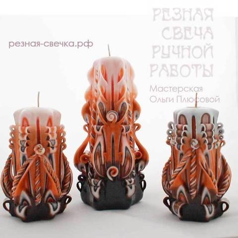 Подарочный набор резных свечей Оранжево-черный