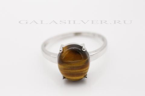 Кольцо с тигровым глазом из серебра 925