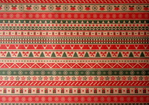 Крафт-бумага НОВОГОДНИЙ ОРНАМЕНТ А3 (лист 415*297мм)