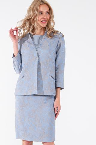 Фото голубая прямая юбка с цветочным принтом - Юбка Б141-580 (1)