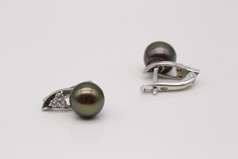 Серьги из серебра с жемчугом и фианитами 28093S2