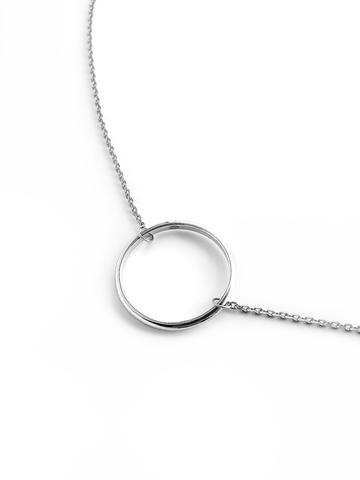 Серебряное колье на цепочке с кольцом 20 мм