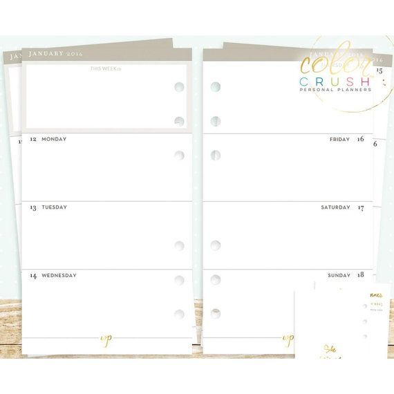 Блок страниц для еженедельных заметок 15-MNTH WEEK ON TWO PAGE CALENDAR INSERTS (A5) для планера  формата A5