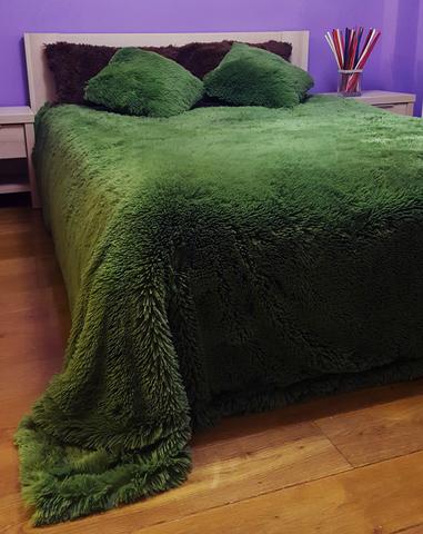 Плед с длинным ворсом, темно-зеленый