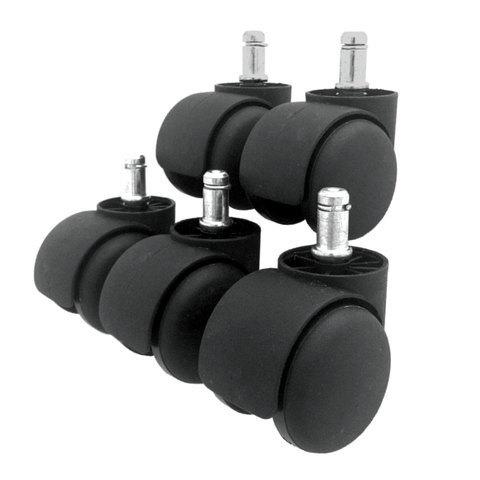 Колеса (ролики) для кресла, комплект 5 шт., пластиковые, шток d - 11 мм, цвет черный