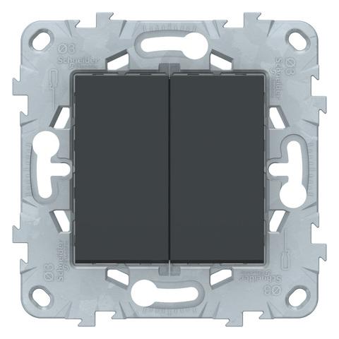 Выключатель двухклавишный. Цвет Антрацит. Schneider Electric Unica New. NU521154