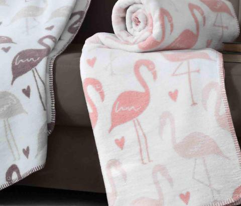 Плед хлопок Фламинго розовый