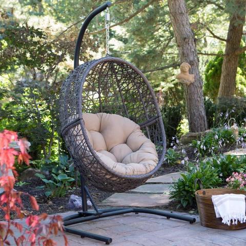 Подвесное кресло-кокон MALAGA горячий шоколад + каркас + подушка