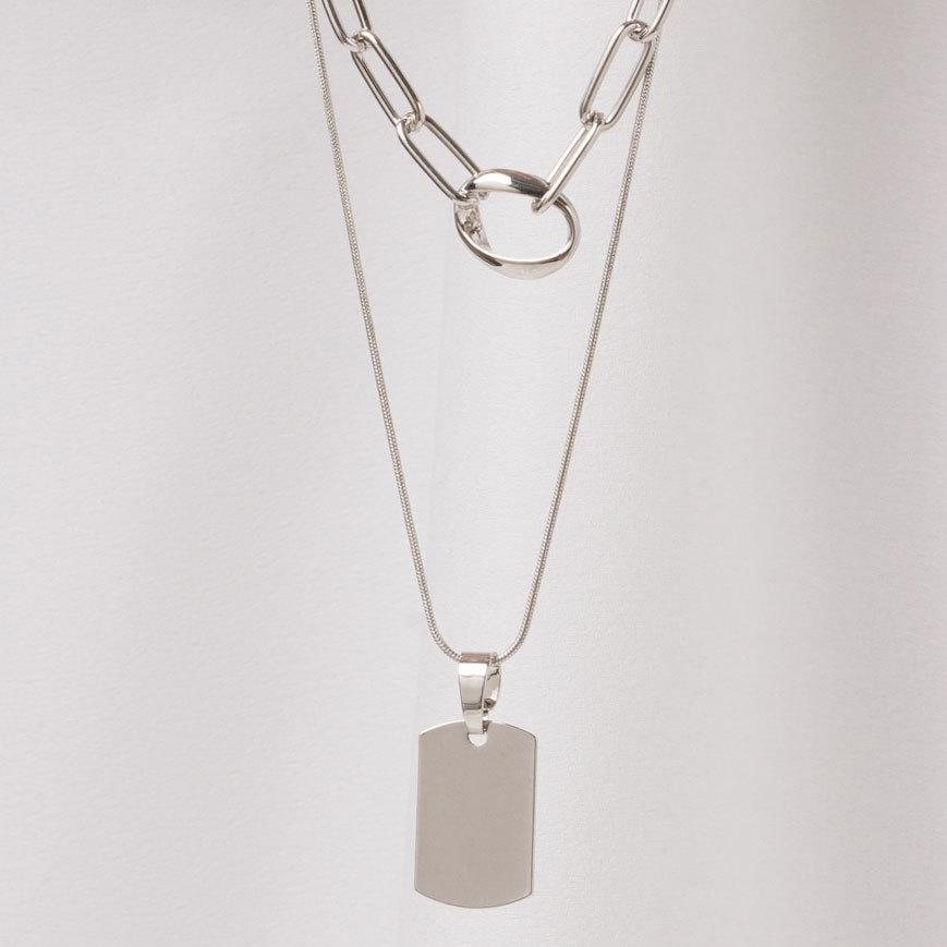 Сэт 2-в-1 из цепи и подвески-медальона (серебристый)