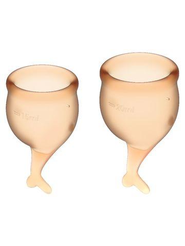 Feel Secure Menstrual Cup Orange Набор менструальных чаш 2 шт,15 и 20 мл с хвостиком