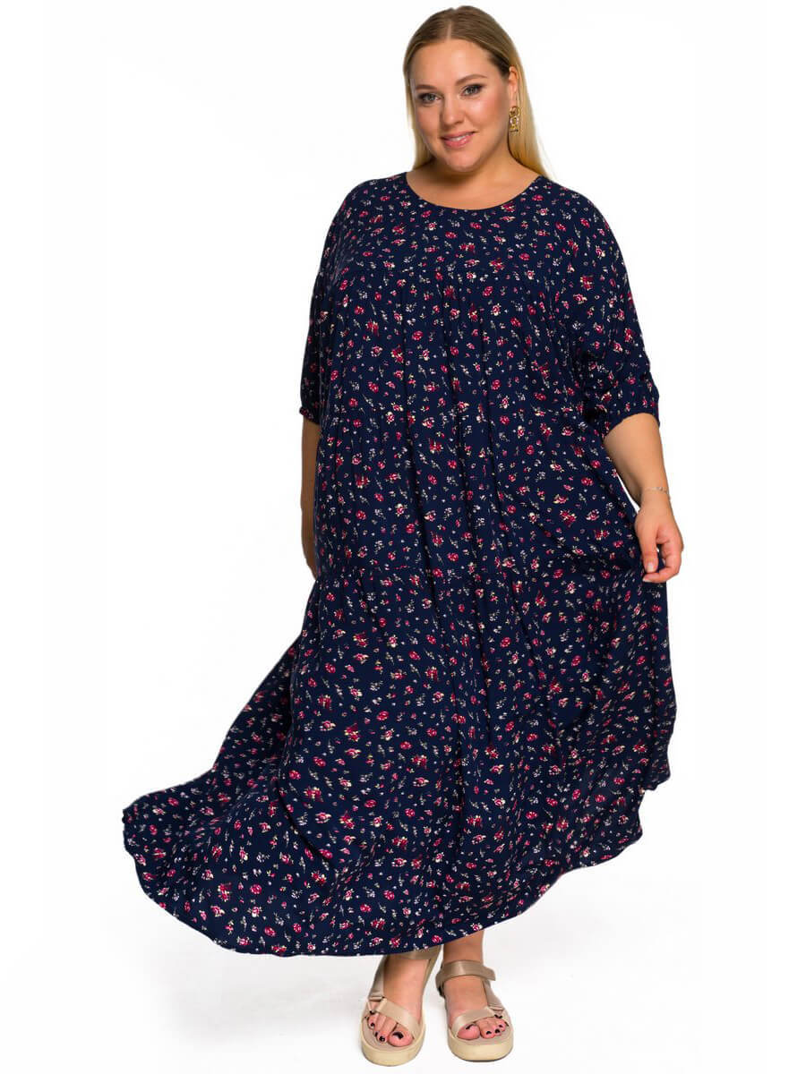 Платье с ярусами Цветы на синем