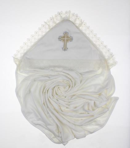 Крыжма для крещения Крестик махровая айвори