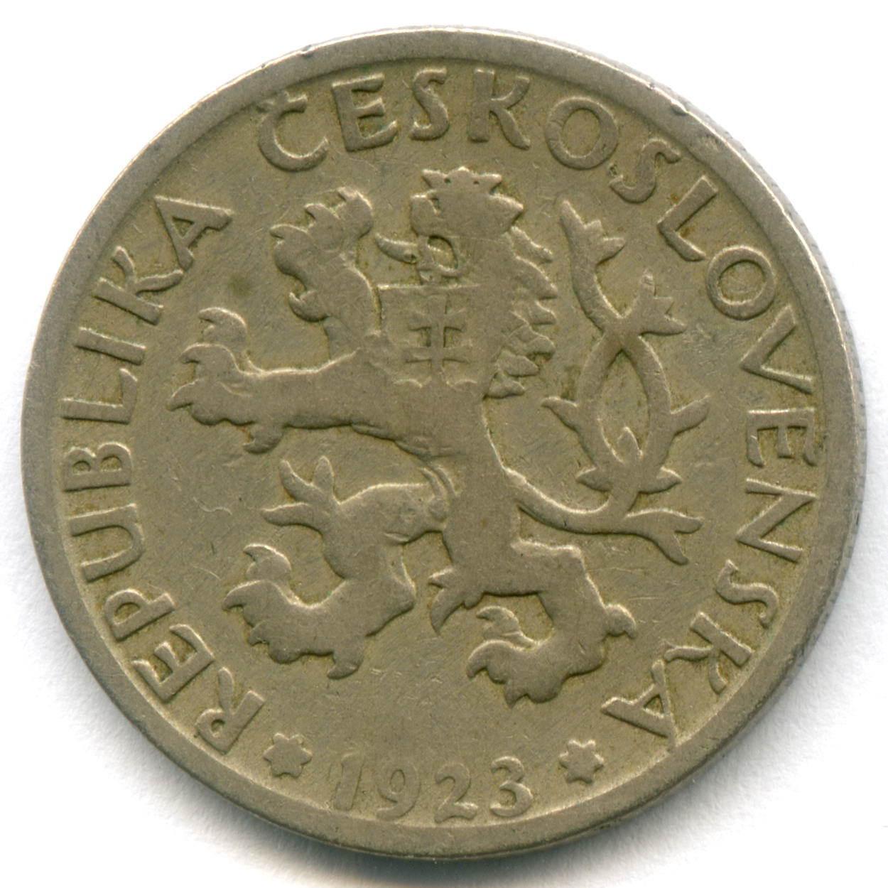 1 крона 1923 г. Чехословакия F-VF