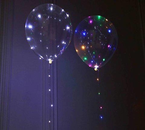 Воздушные шары прозрачные со светящейся лентой