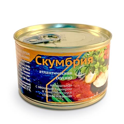 Скумбрия натуральная с овощным гарниром в томатном соусе (250г)