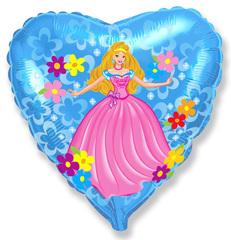 F 18''/46см, Сердце, Принцесса, голубой.