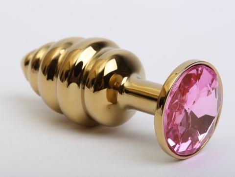 Пробка металл 7,3х2,9см фигурная золото розовый страз 47425-MM