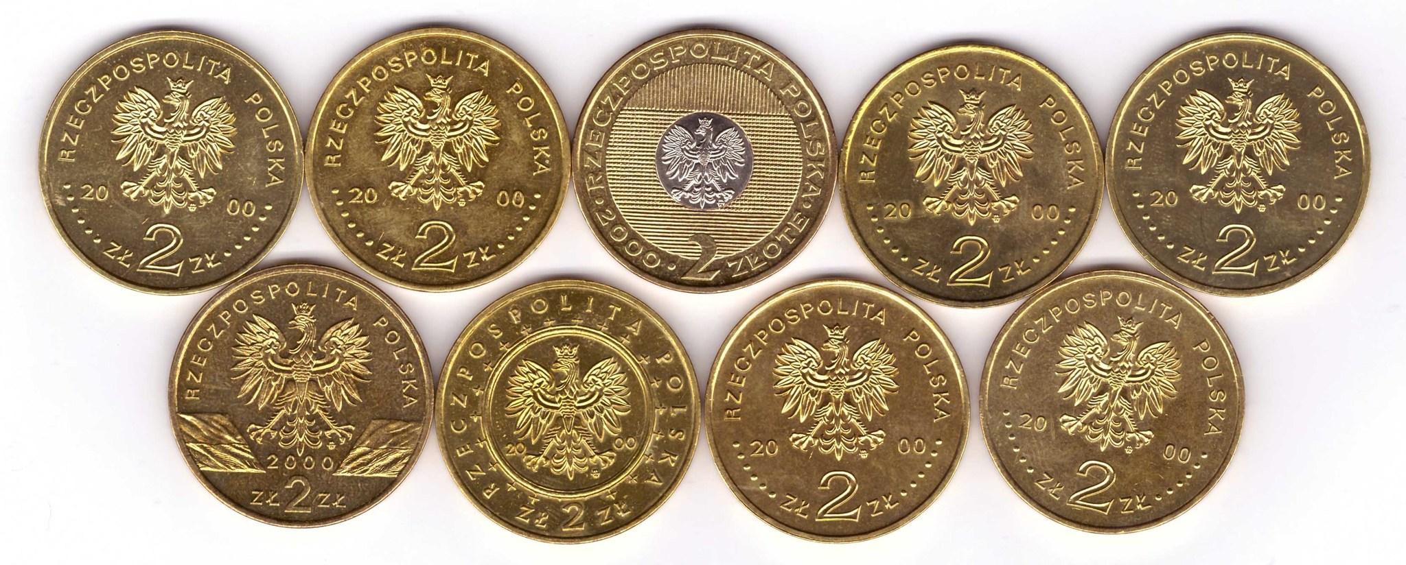 Набор из 9 монет номиналом 2 злотых. Годовой набор. 2000 год, Польша. UNC