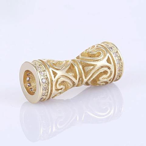 Бусина цилиндр c цирконами 18 х 7 мм цвет золото