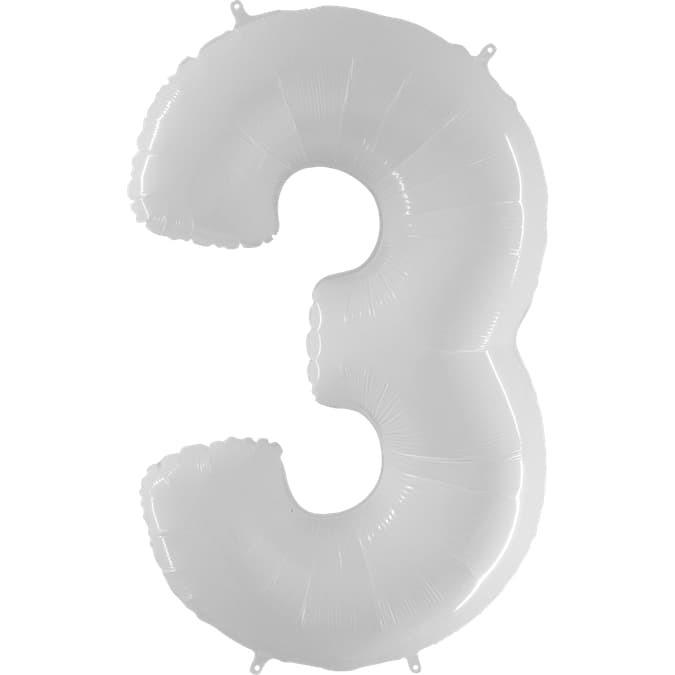 Фольгированная цифра 3, белый