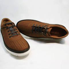 Легкие летние туфли сникерсы мужские Vitto Men Shoes 1830 Brown White