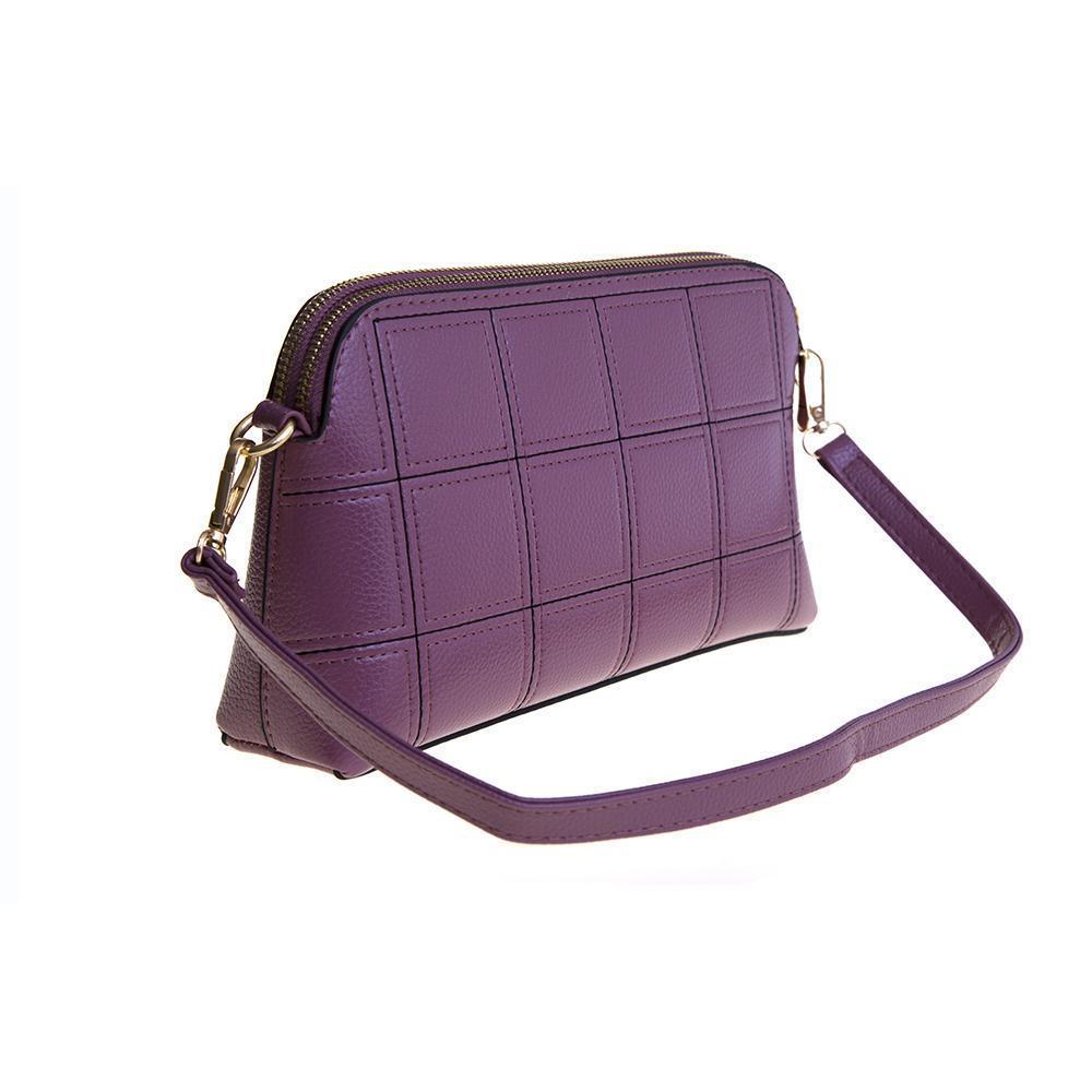 Маленький стильный женский повседневный клатч сиреневого цвета из экокожи 25х15х5 см COSCET 22683-4
