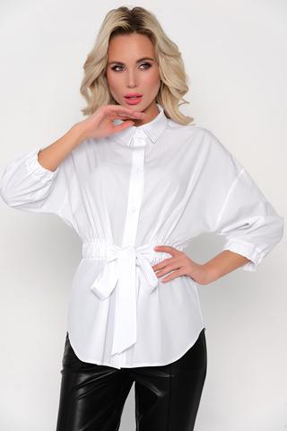 """<p>Стильная рубашка, которая точно покорит всех на Вашем звездном пути! Талия отрезная на резинке, с бантом, рукав """"мышь"""". По переду планка с пуговицами.</p>"""
