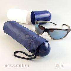 Капсульный мини зонтик синий с черным