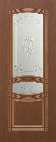 Дверь Троя-1 ДО (крупный орех, остекленная шпонированная), фабрика Румакс