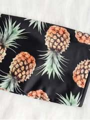 купальник бандо черный ананасовый принт