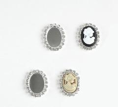 Основа-рамка для кабошонов со стразами Овальная, 2,5 см, 1 шт, металлическая.
