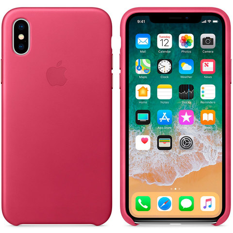 Чехол iPhone XR Leather Case /pink fuchsia/