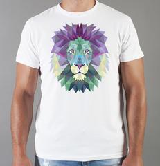Футболка с принтом Лев (Lion) белая 0059