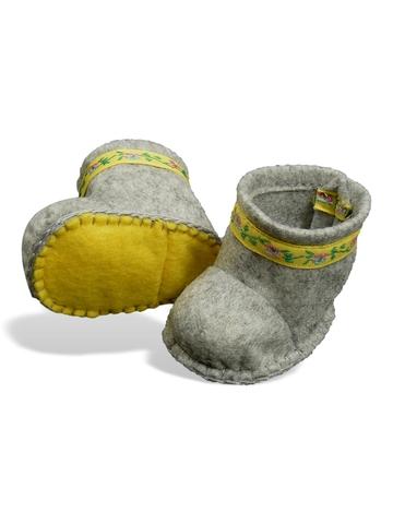 Сапожки-угги из фетра - Серый / желтый. Одежда для кукол, пупсов и мягких игрушек.