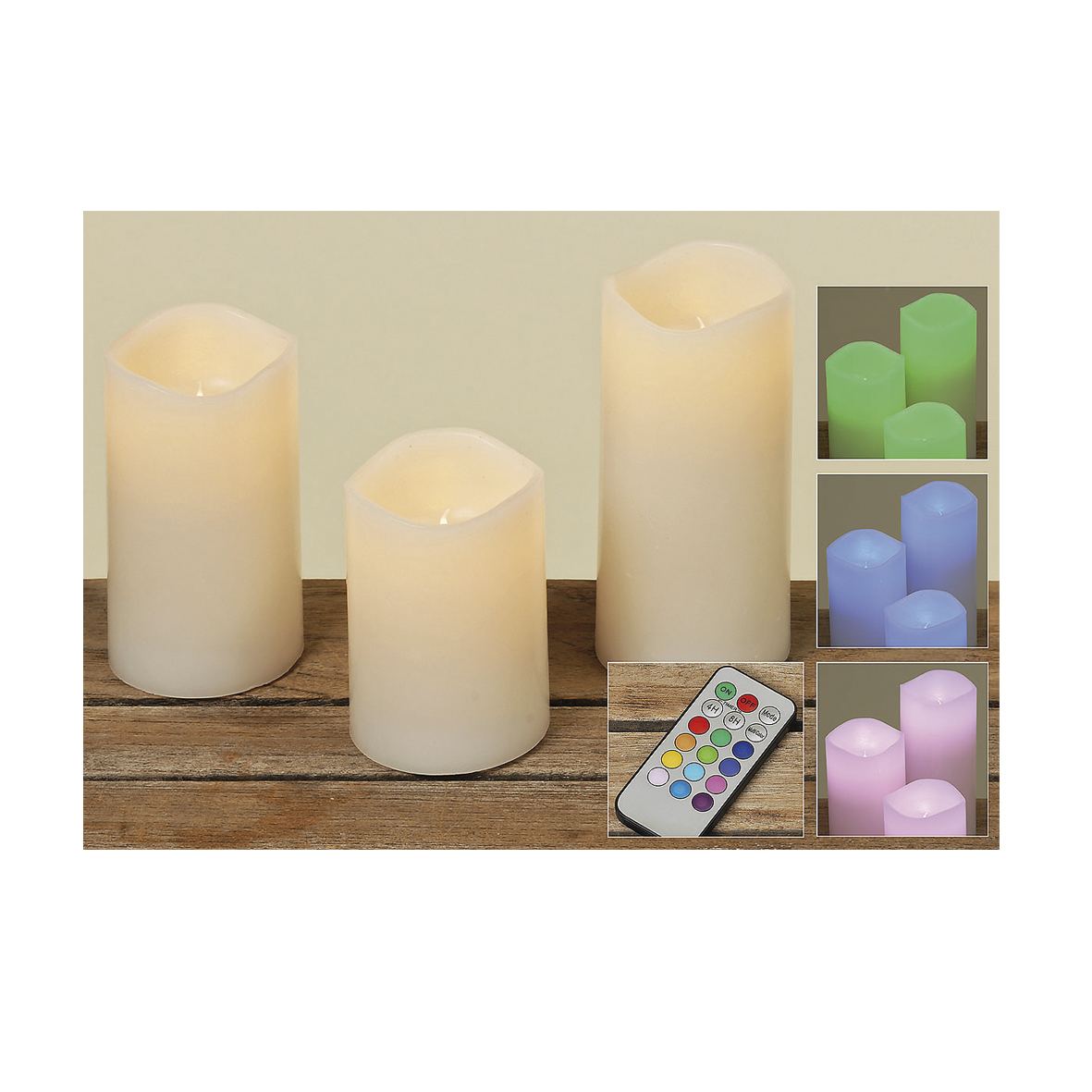 Набор светодиодных свечей и пульта (3шт)
