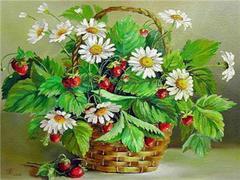 Картина раскраска по номерам 30x40 Корзина ромашек и ягод