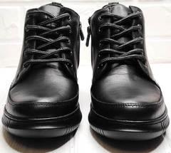 Демисезонные кожаные ботинки женские на шнуровке короткие Evromoda 535-2010 S.A. Black.