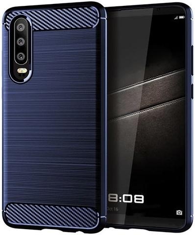 Чехол для Huawei P30 цвет Blue (синий), серия Carbon от Caseport
