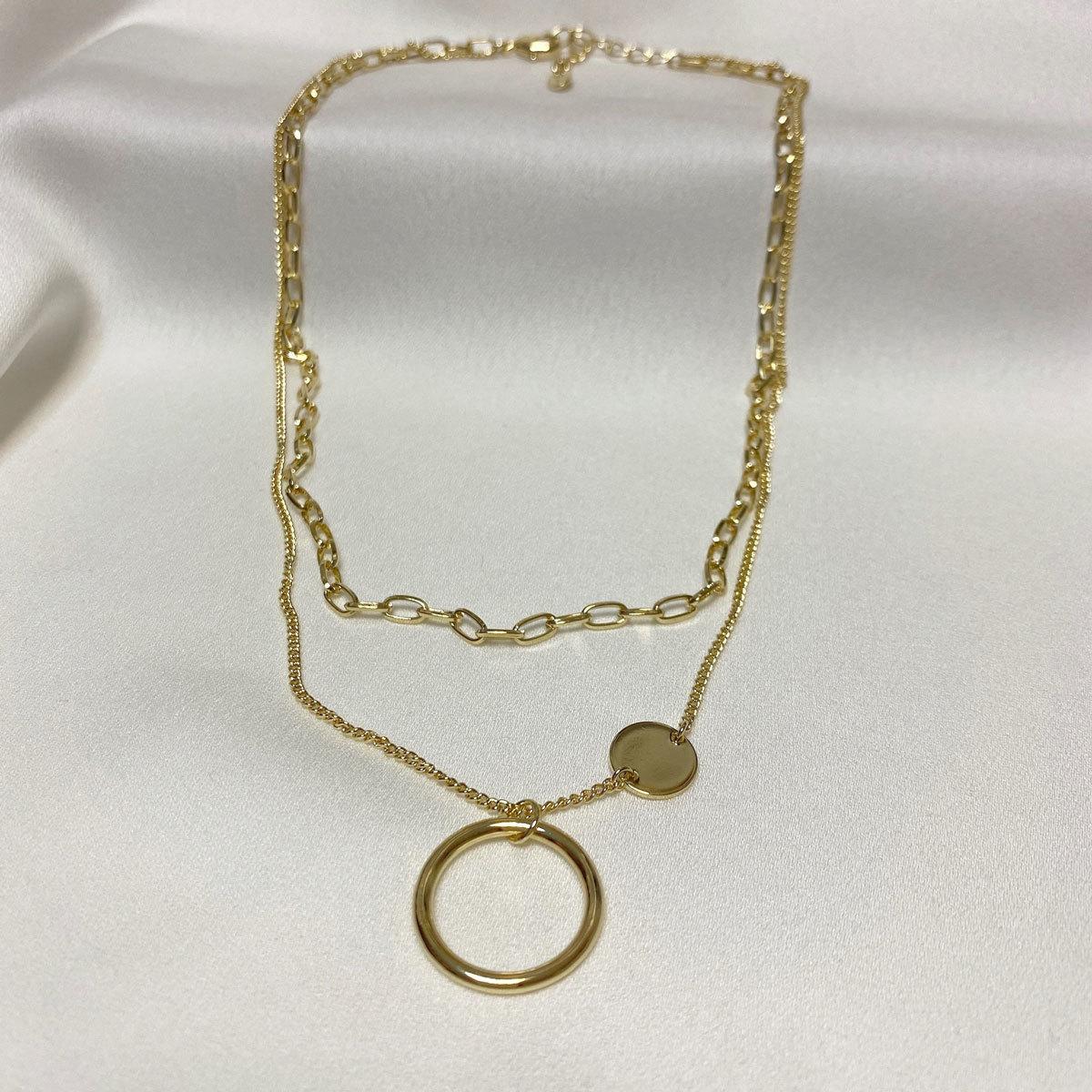 Цепь двурядная с цепью и динамическим кольцом (золотистый)