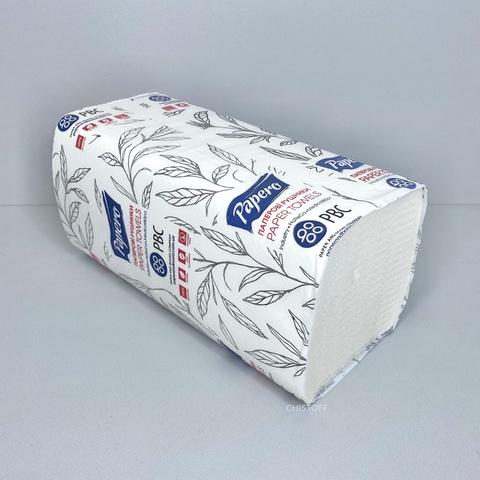 Полотенце бумажное листовое Papero V сложения 2сл. 210х220 мм (150 л.) белое (RV023)
