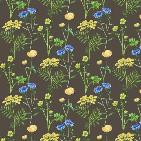 Желтые и синие цветы на хаки