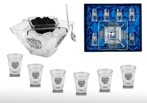 Подарочный набор стопок для водки с икорницей «Статусный» с оловянными барельефами «Двуглавый орел»