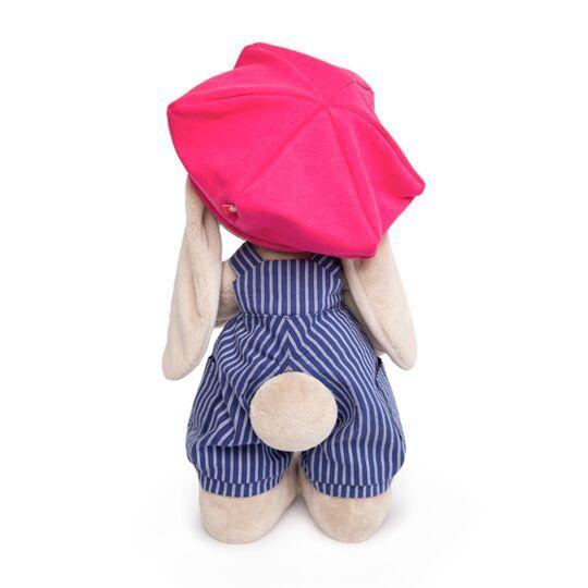 Зайка Ми в синем комбинезоне в полоску и с малиновой кепкой