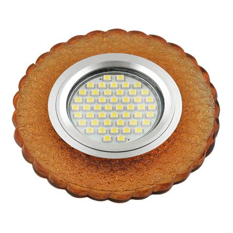 DLS-L140 GU5.3 GLASSY/GOLD Светильник декоративный встраиваемый, серия Luciole. Без лампы, цоколь GU5.3. Доп. светодиодная подсветка 3Вт. Стекло. Зеркальный/светло-желтый. ТМ Fametto
