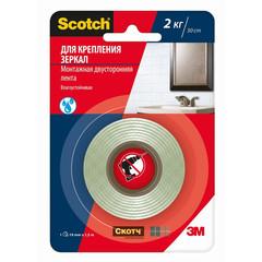 Клейкая лента двусторонняя монтажная для крепления зеркал 3M Scotch на вспененной основе 19 мм x 1.5 м