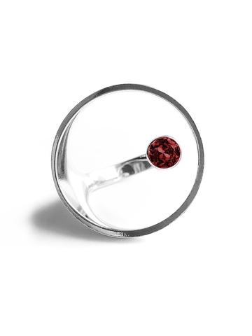 Серебряное кольцо круг с гранатом