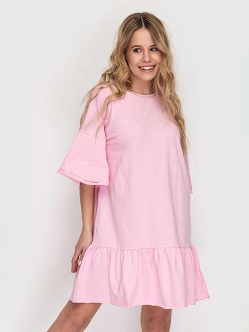 Платье-футболка хлопковое розовое с воланами
