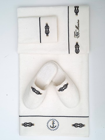 MARINE кремовый набор полотенец с тапочками TIVOLYO HOME Турция