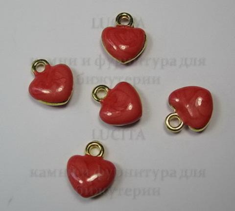 """Подвеска с эмалью """"Красное сердечко"""" 11х10 мм (цвет - золото)"""